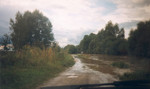 Die Lafnitz trat 1998 hier kurz vor Königsdorf über die Ufer. Vorne und hinten kommt das Wasser schon bis zum Fahrweg, jetzt aber rasch weg hier!